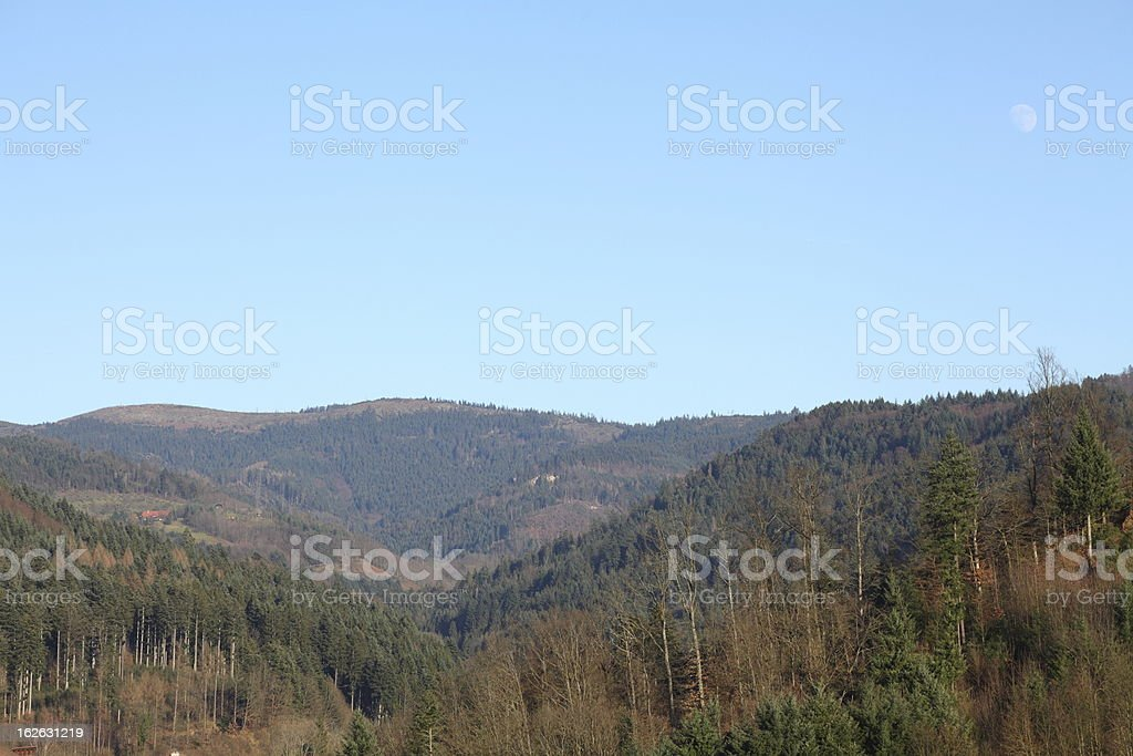 landscape in autuum with moon / Black Forest royalty-free stock photo