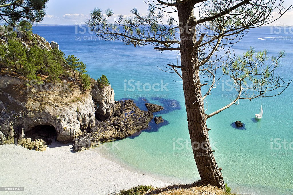 Landscape in Brittany on a sunny day stock photo