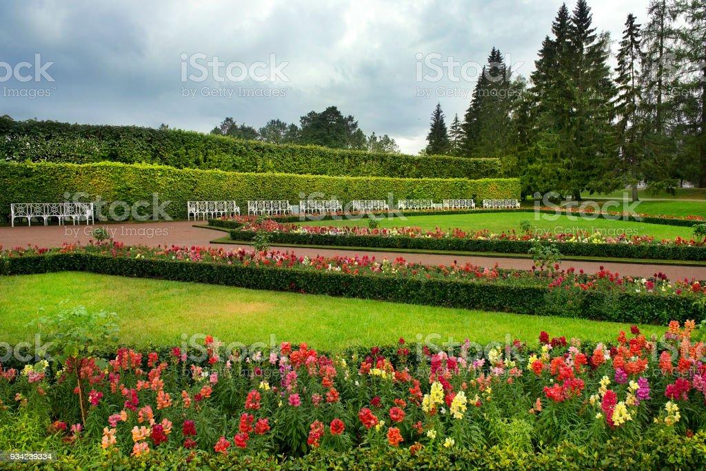 landscape in Catherine park, Tsarskoye Selo, Saint Petersburg stock photo