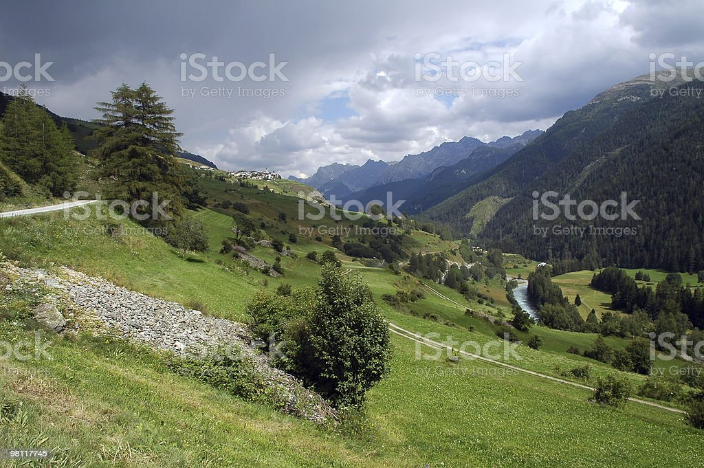 Landscape in Engadine (Switzerland) at summer royalty-free stock photo