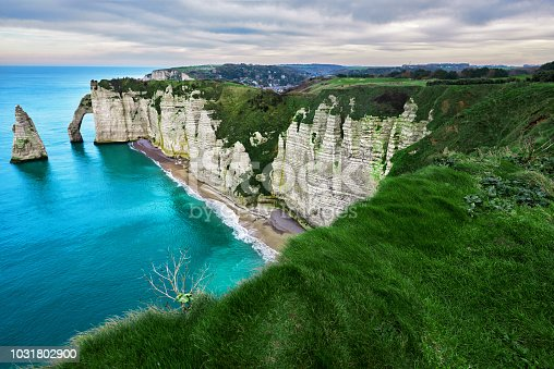 horizontal nature background, landscape in Etretat in spring day.