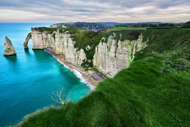 landscape in Etretat horizontal nature background, landscape in Etretat in spring day. rocky coastline stock pictures, royalty-free photos & images
