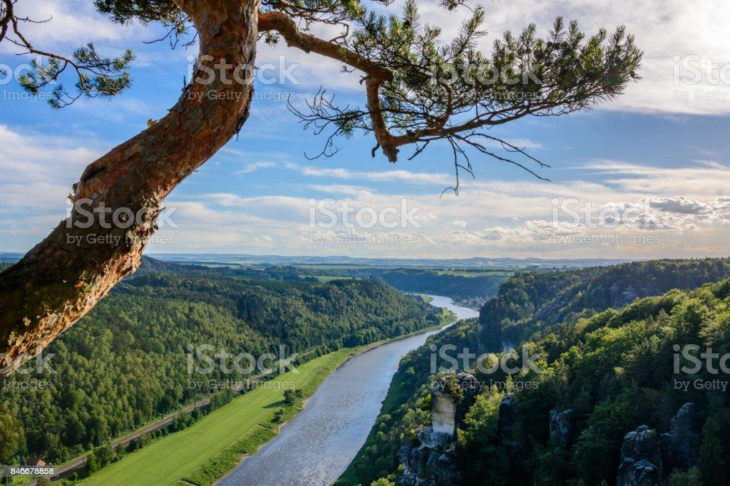 Landscape in Germany. Saxon Switzerland national park in Saxony stock photo