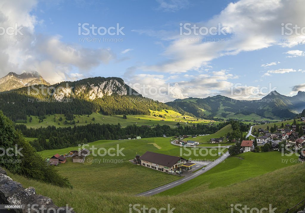 Landscape in Gstaad, Switzerland stock photo