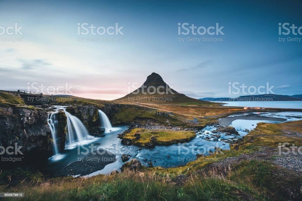 Landscape In Iceland With Mount Kirkjufell At Sunset stock photo