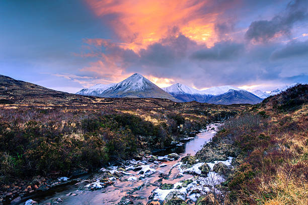 Landscape in Isle of Skye with River, Scotland Wild scotland landscape scottish highlands stock pictures, royalty-free photos & images