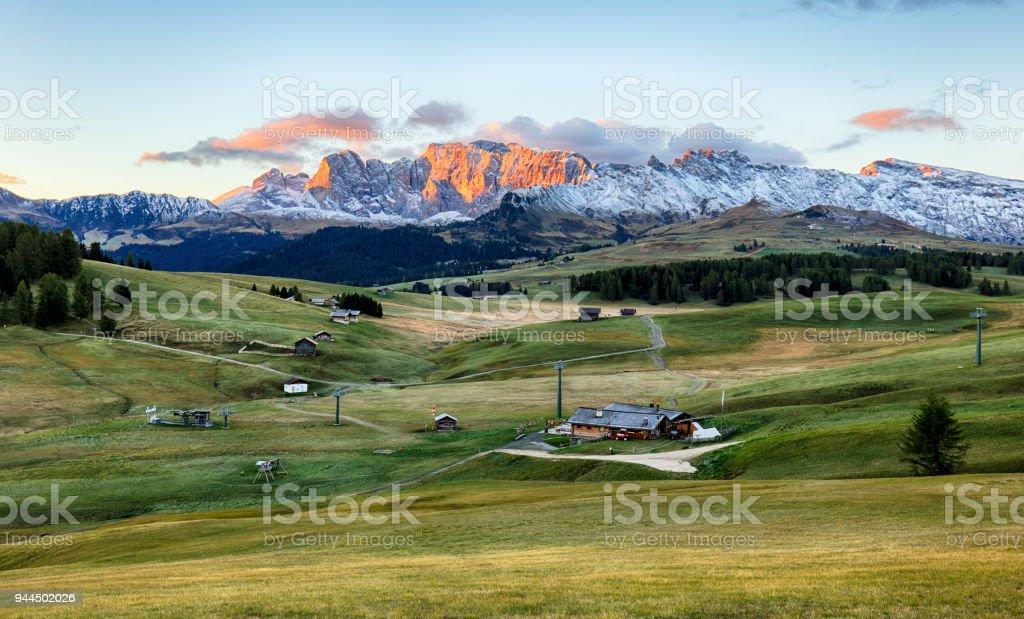 Landscape in mountain pasture and peak, Alpe di Siusi, Dolomites stock photo