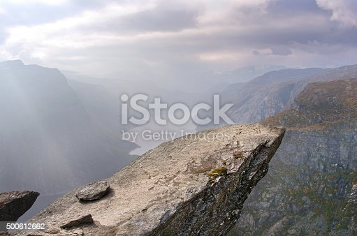 Landscape in mountains, Trolltunga cliffs in Norway.