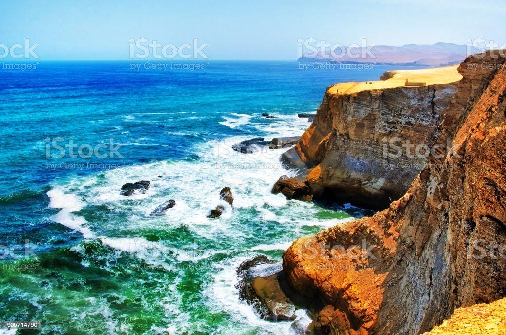 Landscape in Paracas National Park Reserve, Peru stock photo