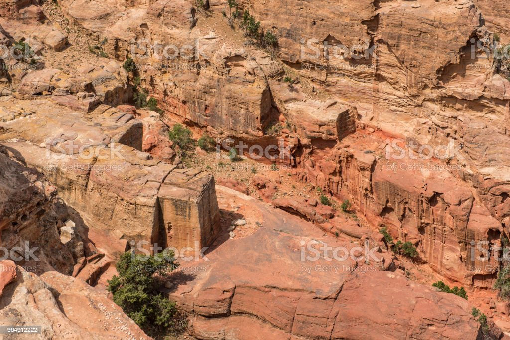 風景在佩特拉, 喬丹 - 免版稅修道院圖庫照片
