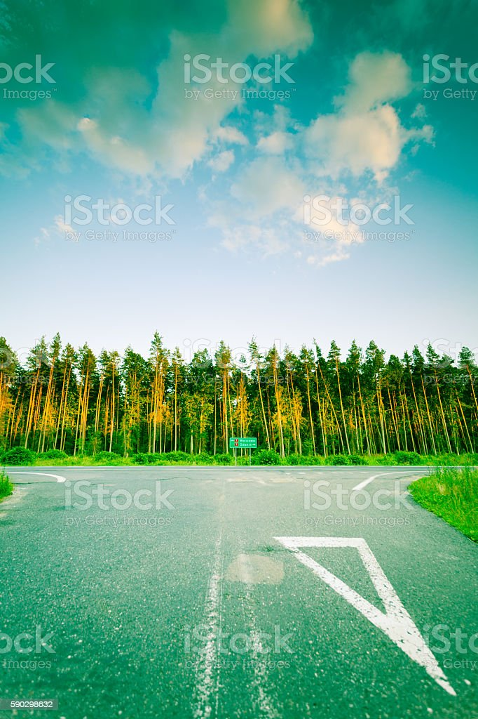 Landscape in Poland asphalt road and forest royaltyfri bildbanksbilder