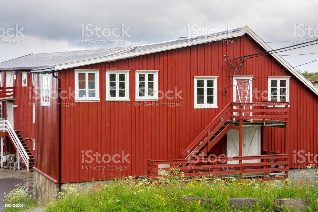 paysage dans le village de Reine en Norvège - Photo de Architecture libre de droits