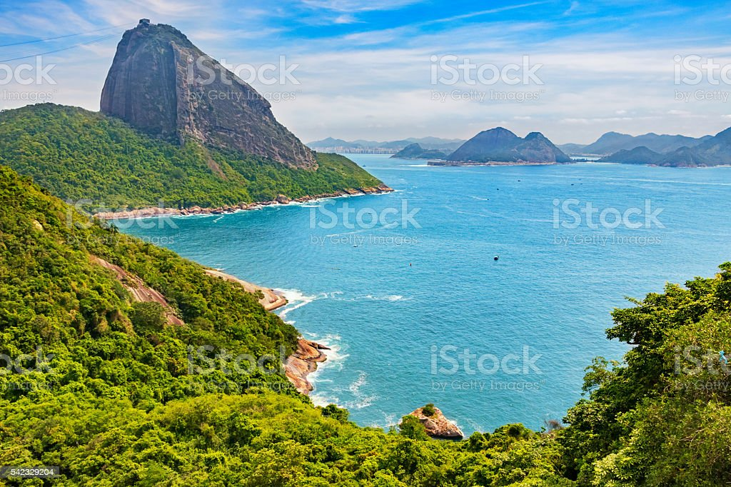 Landscape in Rio de Janeiro Brazil with Landmark Sugarloaf Mountain stock photo