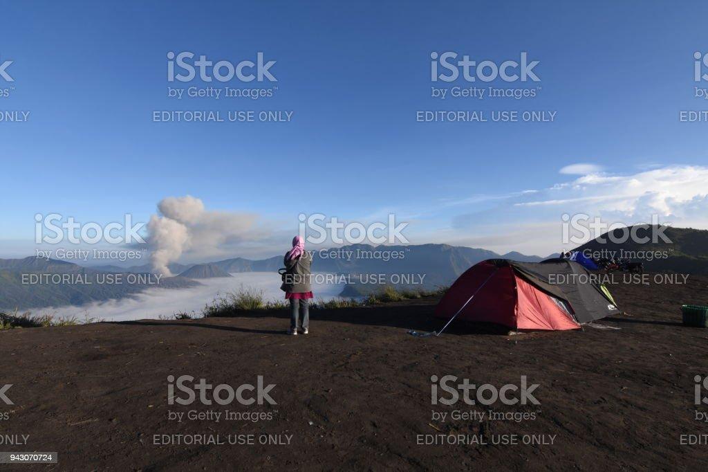 Landscape in Semeru Indonesia stock photo