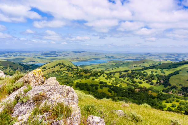 Landscape in Sunol Regional Wilderness, San Antonio reservoir in the background, Alameda county, San Francisco bay area, California Landscape in Sunol Regional Wilderness, San Antonio reservoir in the background, Alameda county, San Francisco bay area, California alameda california stock pictures, royalty-free photos & images