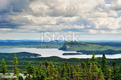 Beautiful scenery with forests and water in the Terra Nova bay in Newfoundland.