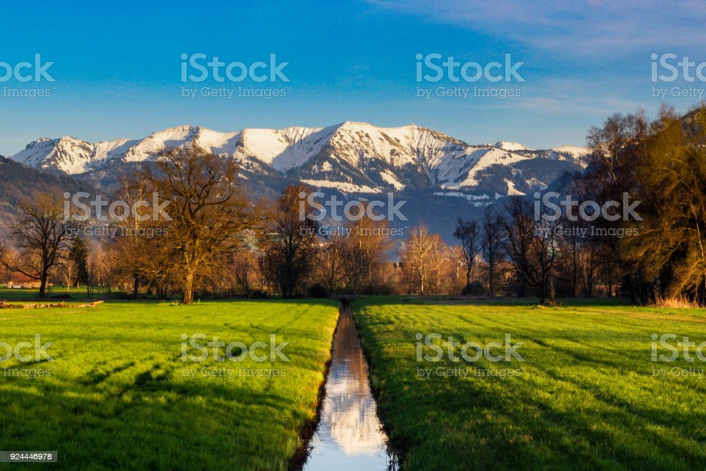 Landscape in the Alps stock photo