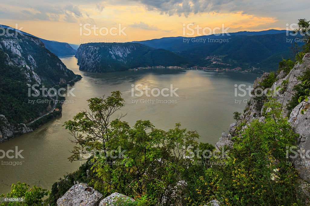 Landscape in the Danube Gorges stock photo