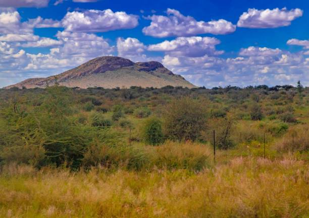 Landscape in the Khomas highlands in Namibia stock photo