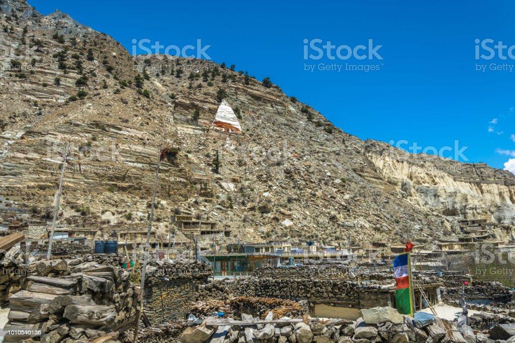 Landscape in the mountain village of Marpha, Nepal. стоковое фото