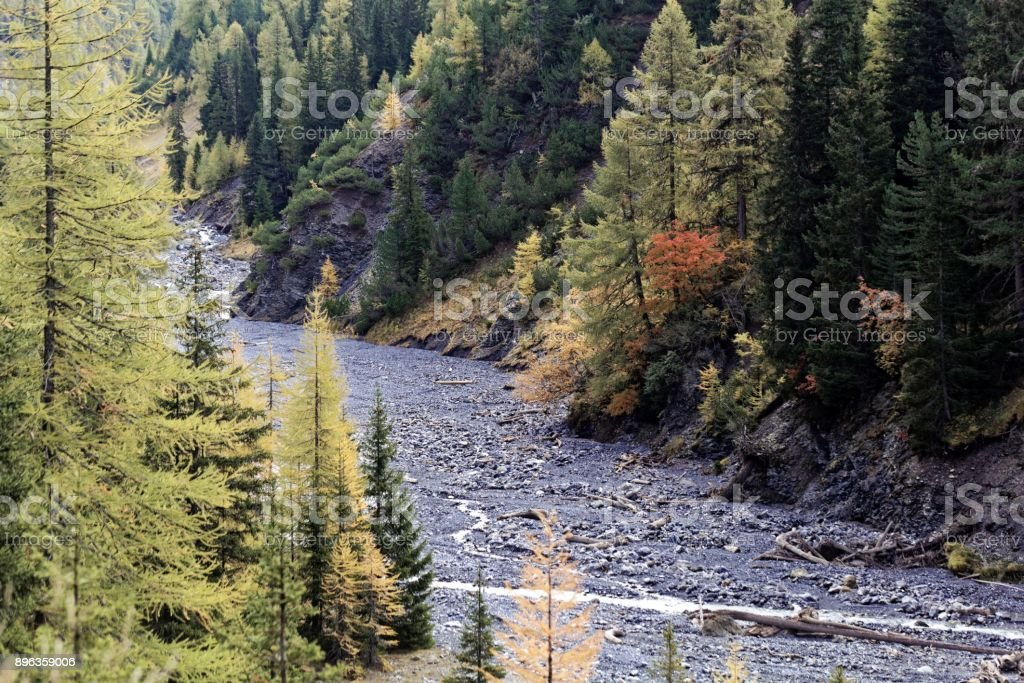 Landscape in the Val Trupchun in the Swiss National Park stock photo