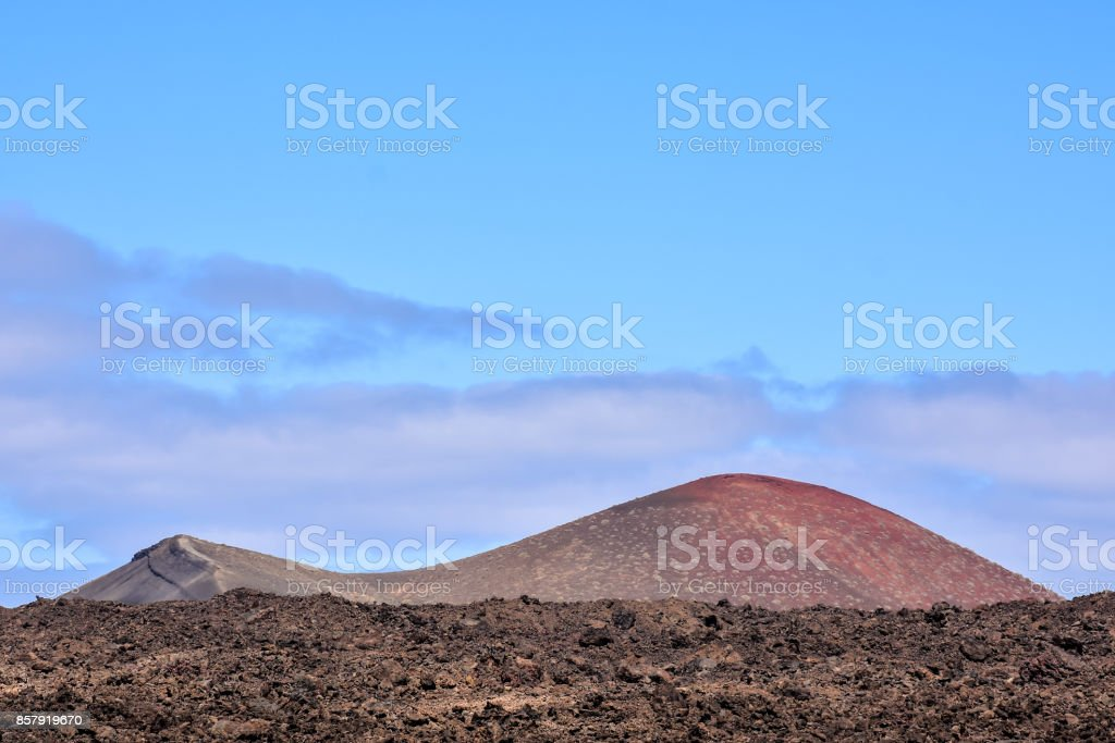 Landscape in Tropical Lanzarote Volcanic Canary Islands Spain stock photo