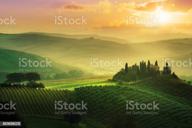 Landscape in tuscany at sunrise picture id855698026?b=1&k=6&m=855698026&s=612x612&h=830nzr1vfmnkm8mknzl5kmaiyxlcn oef7fu4sv99xk=