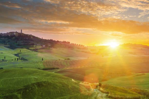 Landscape in Tuscany at sunrise stock photo