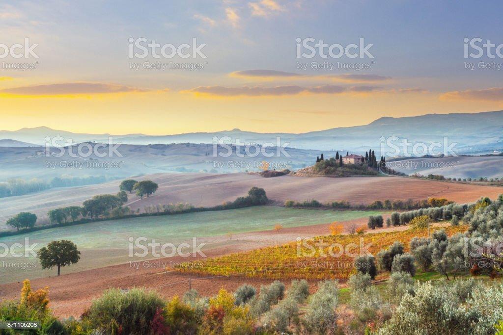 Landscape in Tuscany, Italy stock photo