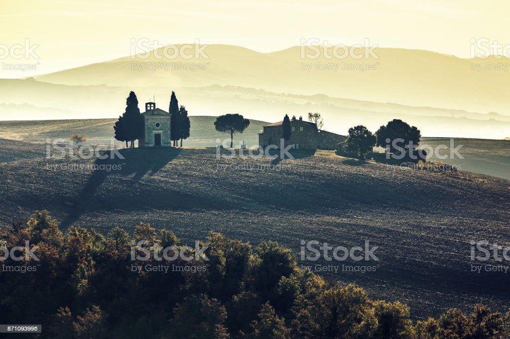 Landscape in Tuscany with the Capella di Vitaleta stock photo