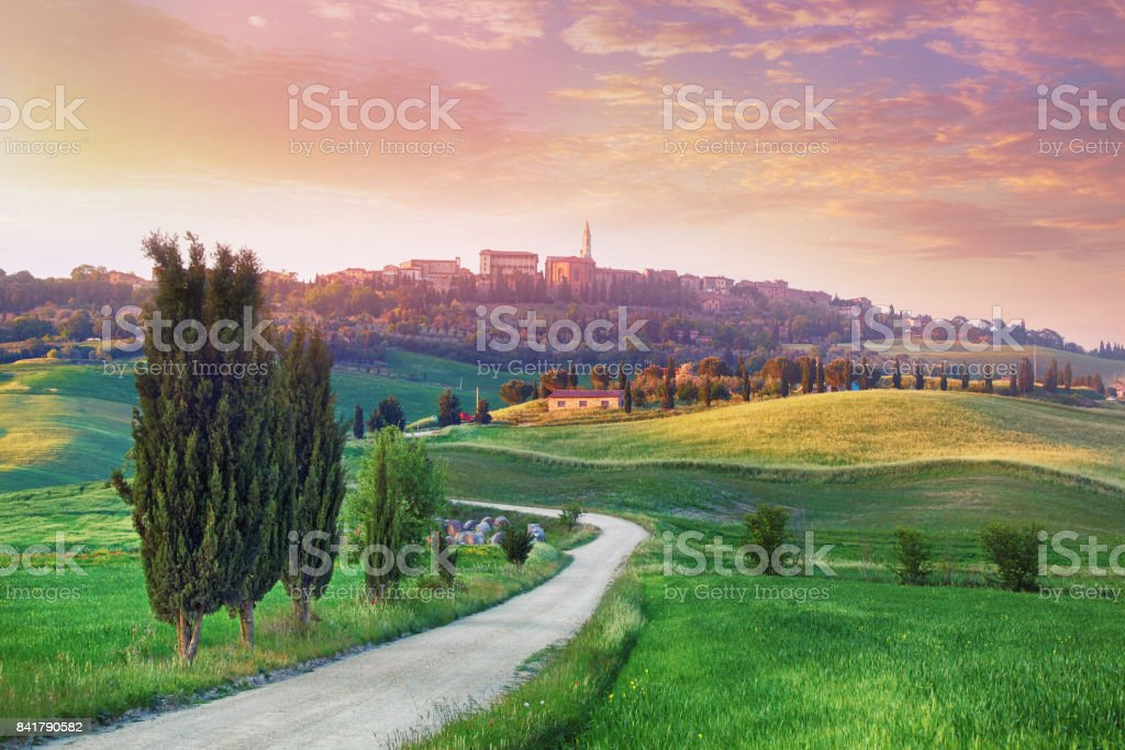 Landscape in Tuscany with the small town of Pienza in the background stock photo