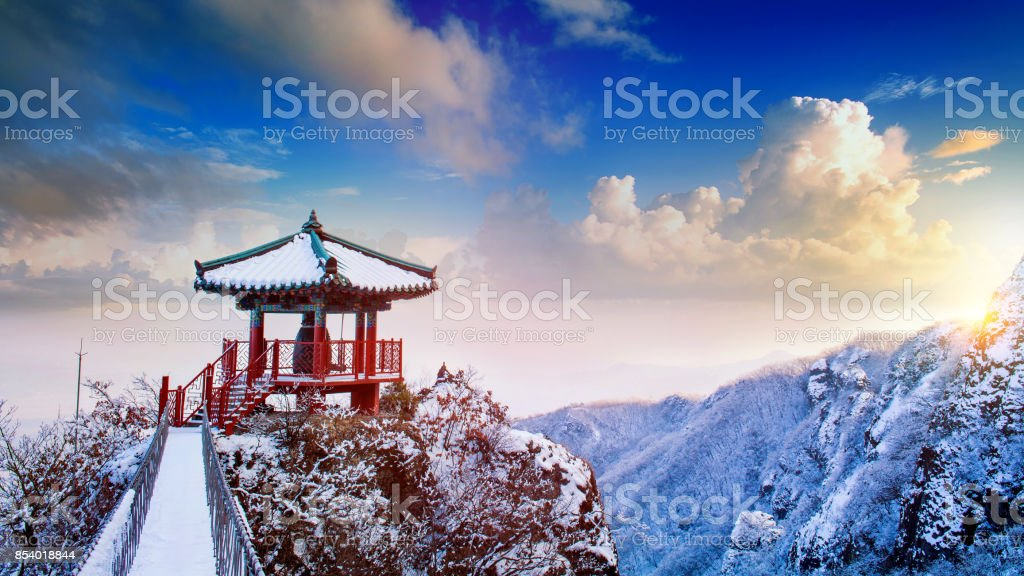Landscape in winter,Guemosan in korea stock photo