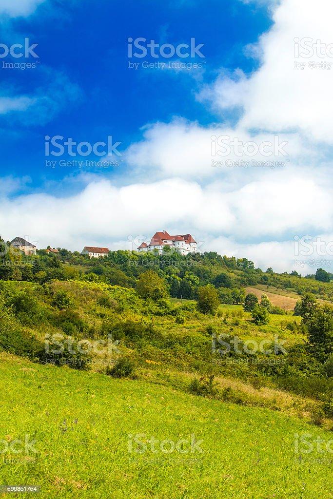 Landscape in Zagorje, Croatia, castle Veliki Tabor Lizenzfreies stock-foto