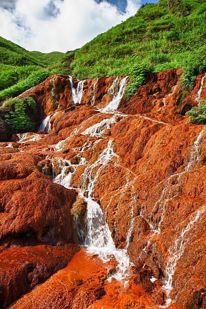 Landscape - Jinguashi Golden Waterfall in Taiwan, Republic of China stock photo