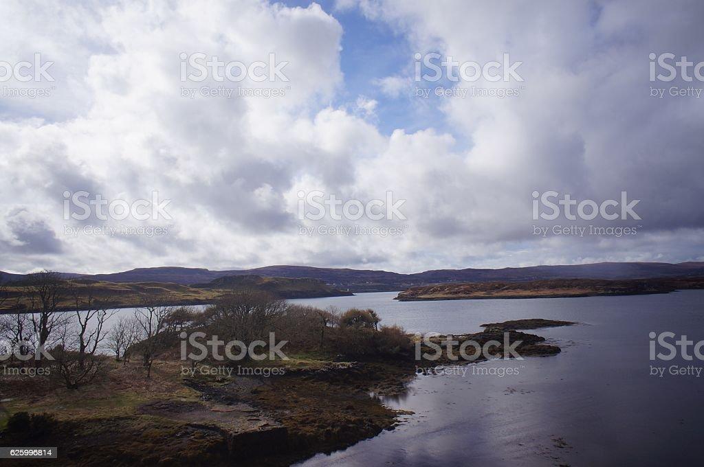 Landscape Lake and Hills stock photo
