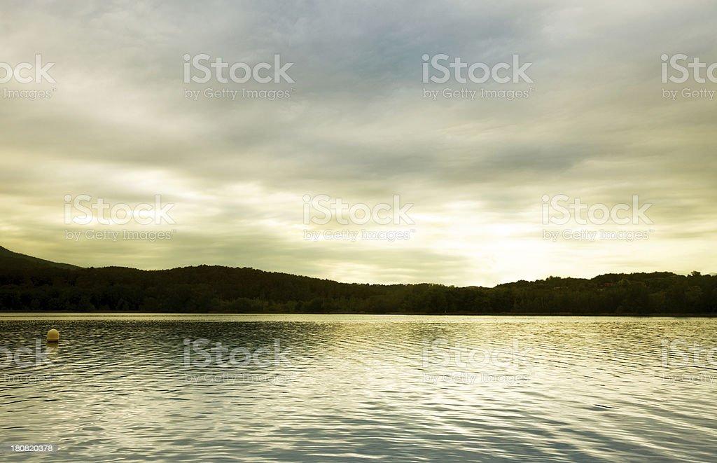 Landscape, lake at sunset stock photo