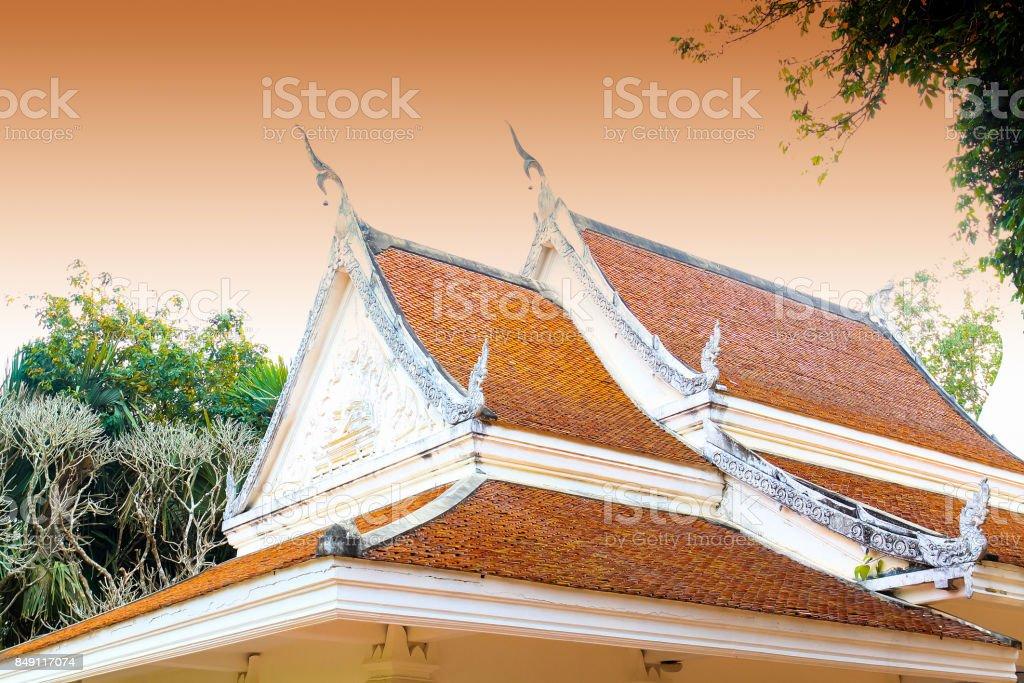 landscape land architecture building view Wat Pra That Sri Song Luk Loei Thailand, Jan 2016 stock photo