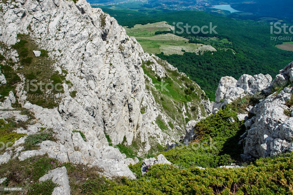 Landscape look from the top of a mountain stock photo