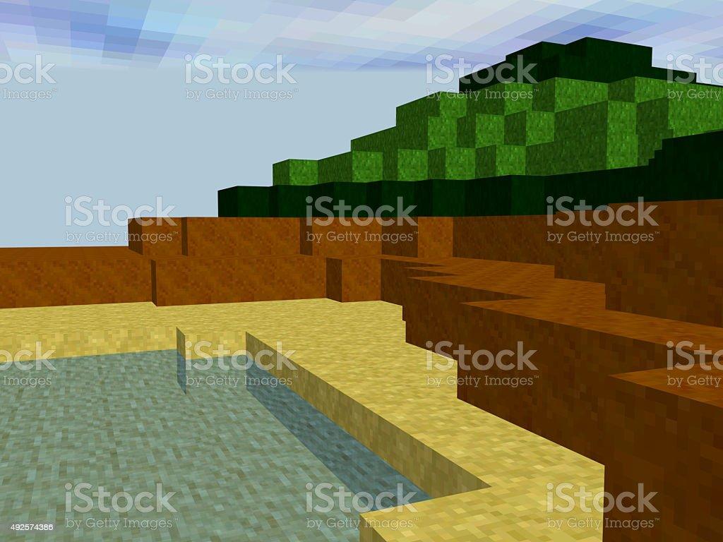Paisagem feita de pixels quadrados - foto de acervo