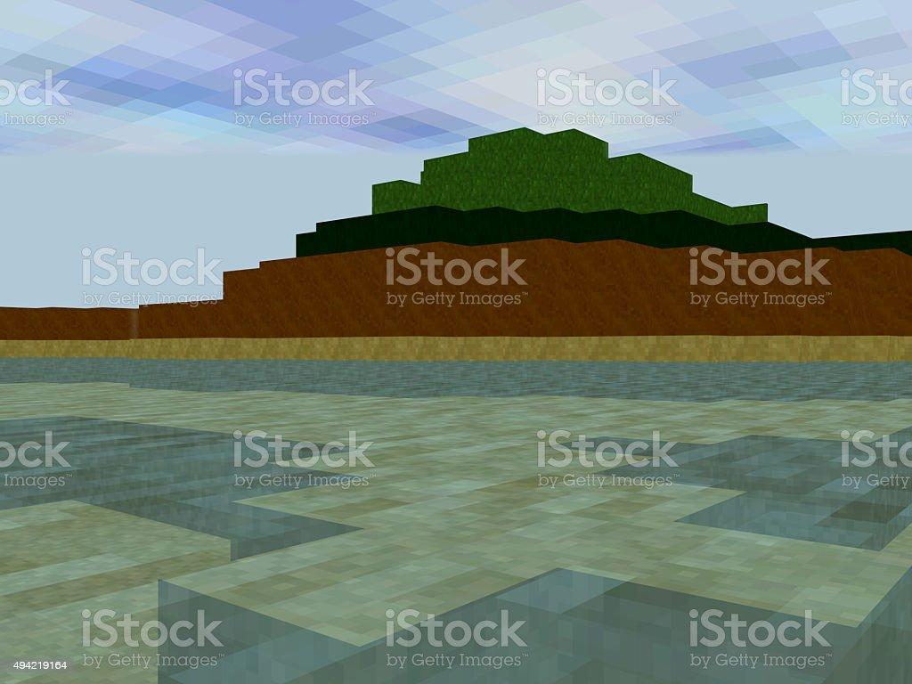 Paisagem feita de pixels quadrados, com ampla área de água - foto de acervo