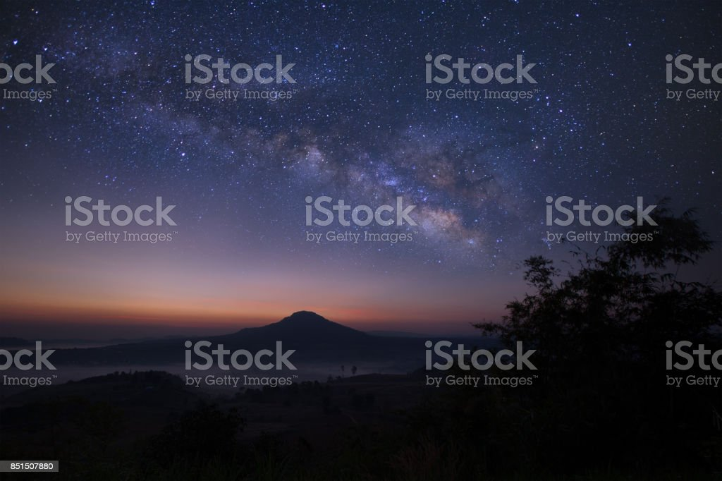 Landscape milky way galaxy over moutain, Night sky with stars stock photo