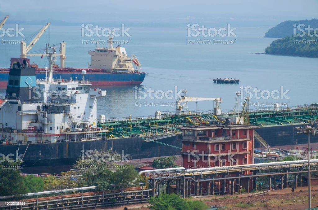 Landscape Mormagao\'s harbor in India cargo transport