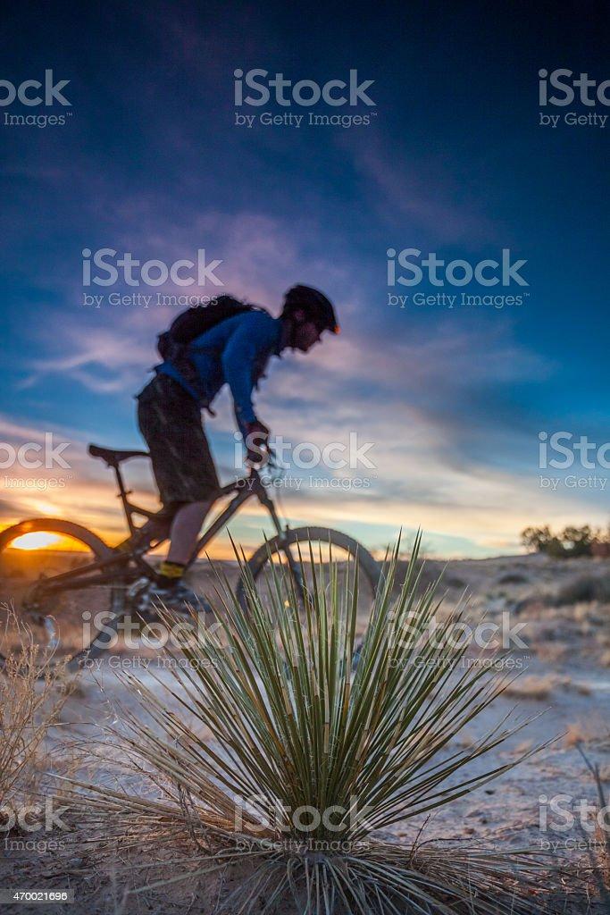 landscape mountain biking sunset stock photo
