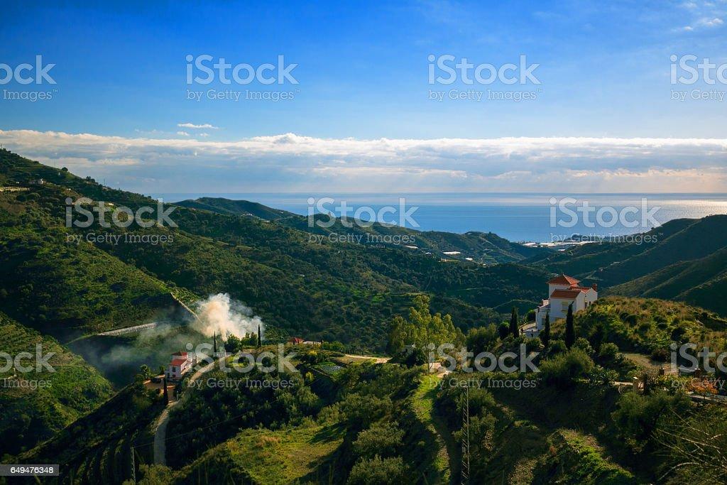 Landscape Mountains in Malaga, Spain stock photo