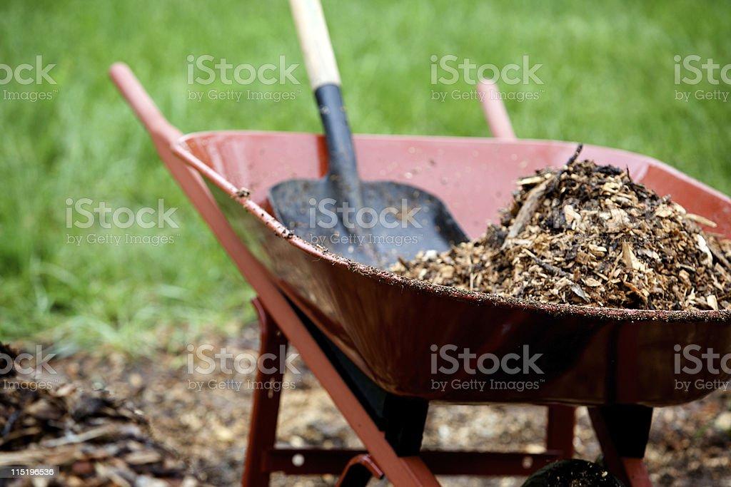 landscape mulch yard work stock photo