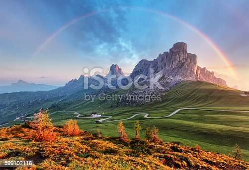 istock Landscape nature mountan in Alps with rainbow 599102116