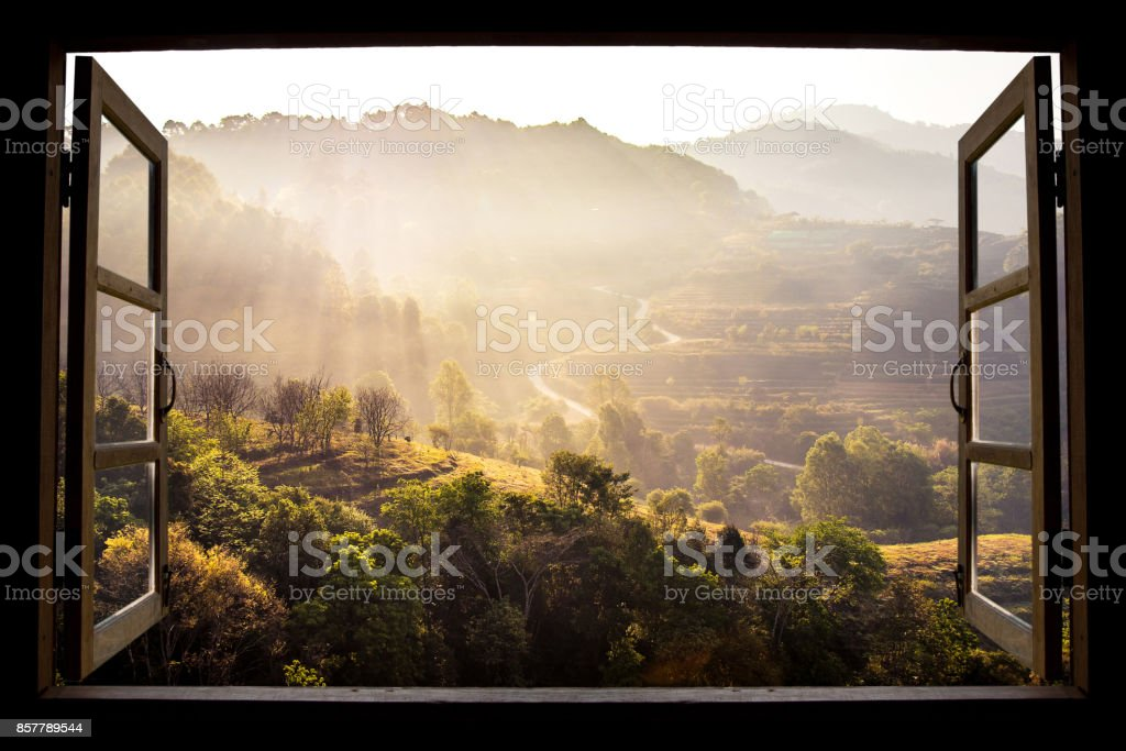 landscape nature view background. view from window at a wonderful landscape nature view with rice terraces and space for your text in Chiangmai, Thailand , Indochina stock photo