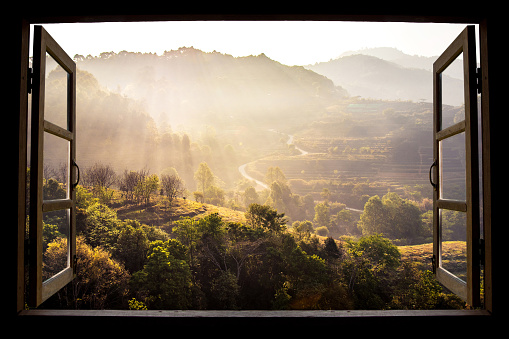 Landscape Nature View Background View From Window At A Wonderful Landscape Nature View With Rice Terraces And Space For Your Text In Chiangmai Thailand Indochina - Fotografie stock e altre immagini di Ambientazione esterna