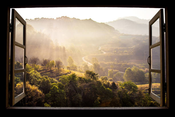 landscape nature view background. view from window at a wonderful landscape nature view with rice terraces and space for your text in chiangmai, thailand , indochina - janela imagens e fotografias de stock