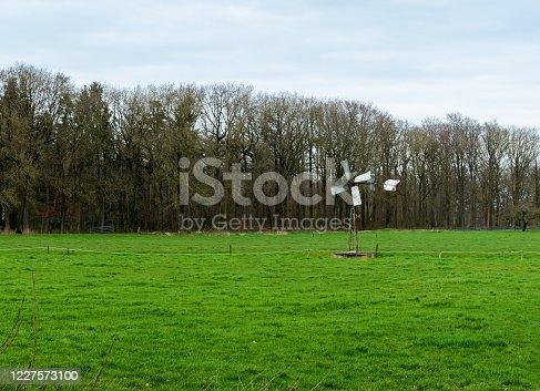 Meadow with old Dutch farmers windmill